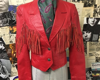 Womens Vintage Leather Jacket by Pioneer Wear Cropped Red Western Cowgirl Fringe Tassel Size UK 8 Free UK & Cheap Worldwide Postage
