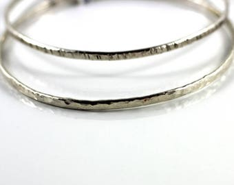 Hammered sterling silver bangle/ hand forged silver bracelet/ artisan hammered silver 925 bracelet /shop sand and silver vancouver island bc