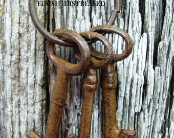 Skeleton Keys/Rustic 4-Inch Iron/Western/Shabby Chic/Jailer's Keys/Red/White/Several Colors