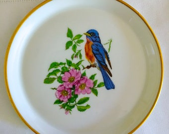 Vintage Limoges Bluebird Tray, made in France, Limoges Chamart Tray, Hand Painted Bird, Limoges Gifts, Fine Porcelain
