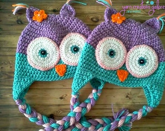 Wide Eyed Owl Hat-- Purple & Teal