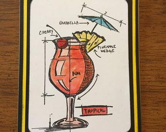 Tropical Beverage Card - Rum Drinks - Drink with Umbrella