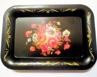 Vintage Mini Tray Floral Metal Black Home Decor Kitchen Dish