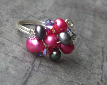SALE- HOT PINK cocktail ring- pearl, swarovski crystal