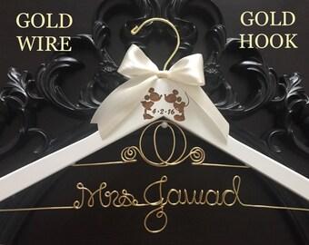 Cinderella Wedding Hanger, Disney Bride Hanger, Bridal Hanger, Mickey & Minnie Wedding, Disney Wedding, Personalized Hanger,Gold Wire Hanger