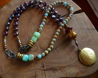 Zen Necklace, Bohemian, Boho, Yoga, Plue Peruvian Opal, Pearls, Handmade Brass Beads, Retro, Hippie