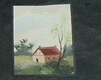 Miniature FARM HOUSE Oil Painting (Marilyn Stevens)