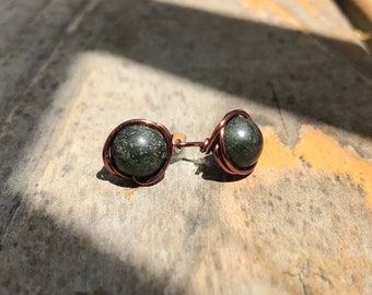 Dark Green Jade, Copper Wire Wrap Stud Earrings