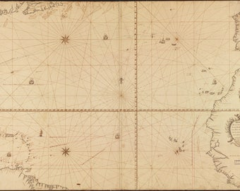 Poster, Many Sizes Available; Map Of North Atlantic Ocean 1756 In Spanish