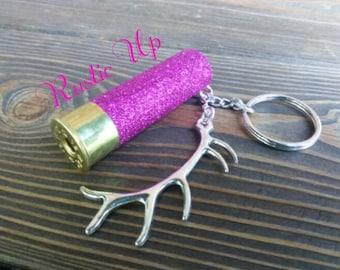 Deer antler shotgun shell keychai, Glitter, 12 Gauge, Shotgun Shell, Keychain, Antler, Rustic, Key chain, Any Color, Huntress, Southern