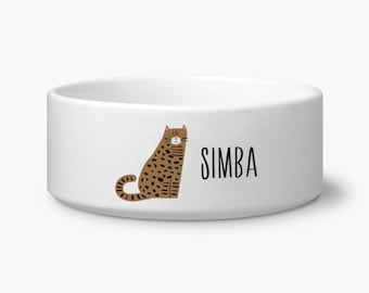 Personalize cat bowl, Bengal cat food bowl, personalized custom name, ceramic, dishwasher and microwave safe