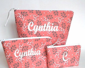 Handmade makeup bag - 3 piece set - cosmetic bag - Small flowers and leaves - toiletry holder - ready to ship - Personalized gift for her