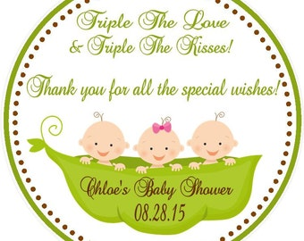 Triplet Baby Shower Favors ( Set of 12 ) / Triplet Shower Favors / Triplet Birthday Favors / Favors for Triplets / Triplet Party Favor