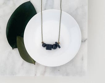 Mae Necklace | Petite Geometric beads | Black