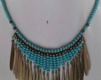 Light Turquoise Blue Czech Glass Seed Beads Antique Brass Teardrops and Bead Bib Necklace