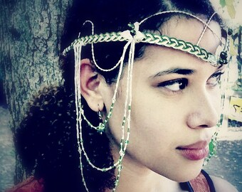 Irish Green Celtic Weave Hair Chain Headdress Circlet Boho Wedding Tribal Dance Tiara Head Piece