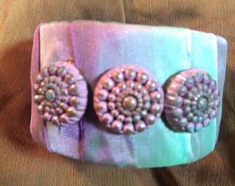 Orchid and sea foam bangle with vintage buttons