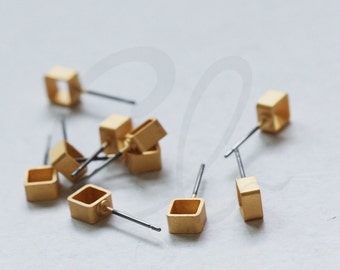 2 Pieces (One Pair) Premium Matte Gold Plated Brass Base Earring Post - Square Tube 5x5x3mm (3137C-I-511)