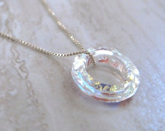 Swarovski Crystal Passion Round Ring Pendant Floating on a Sterling Silver Chain Necklace