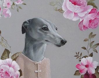 Italian Greyhound Art Print - Greyhound lady Dog - Italian Greyhound art print Italian Greyhound wall art dressed dog illustration dog print