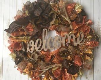 Large Front Door Wreath, Welcome Wreath, Deer Antle Wreath, Country Wreath,  All Season Door Wreath, Front Door Wreaths