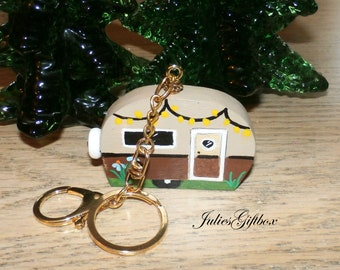 Camper Key Chain-Hand Crafted-Hand Painted-Keychain-Purse-Charm-Clip on Beach Bag-MothersDay-Fathers Day Gift-One of A Kind-