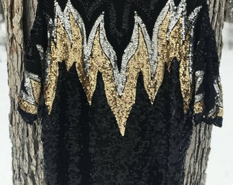 50's silk sparkly black, silver and gold sequin top with beautiful design