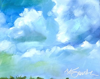 Lazy Days of Summer // landscape painting // original art // beach scape // beach painting // sky painting // cloud painting // landscape