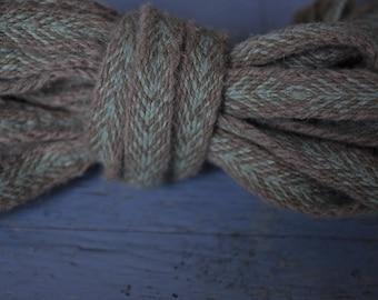 Naturally dyed tablet woven band, belt, leg wrap binders, card weaving, viking trim, natural plant dyeing, slavic,brown,green, medieval garb