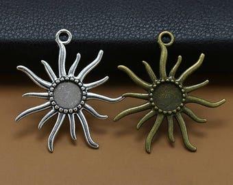 20pcs  45x50mm Ancient pendants  necklace sun Base charms Round bottom