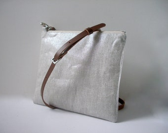 Crossbody Purse in Metallic Silver Linen, CrossBody Bag