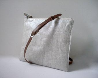 Crossbody Purse in Metallic Silver Linen, CrossBody Bag