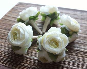 Men's Boutonniere, Ivory Ranunculus Boutonniere
