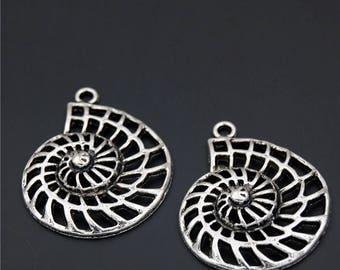 10pcs Antique Silver 3D Ocean Sea Animal Shell Conch Sea Snail Whelk Cowry Charms Pendant A2322
