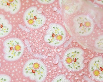 "Laminated Cotton Fabric - Tulip and Polka Dots - Pink - 44"" Wide - By the Yard 55940"
