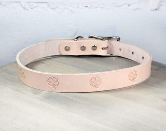 Four Leaf Clover Thick Leather Dog Collar