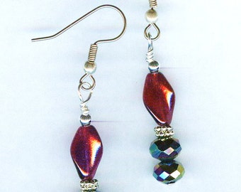 Raspberry Red Twist & Red Iridescent Faceted Rondelle Bead Earrings