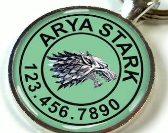 Pet tags custom pet id tag unique pet id tag dog tag cat tag Game of thrones Wolf Stark