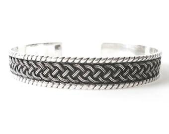 Mens Sterling Silver Cuff Bracelet With Braid Design