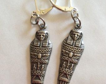Mummy sarcophagus Egyptian Pharaoh handmade pewter earrings for pierced ears nickel free