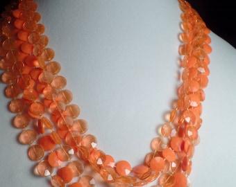 1950's Orange Bead Necklace-Vivid Colors.