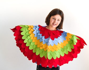 Colorful Bird Wing Costume Kids Parrot Wing Cape Kids Parrot Costume Kids Costume Carnival Costume For Boys Halloween Costume for girls