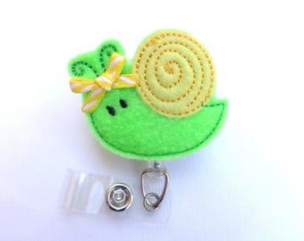 SALE - Badge Holder Retractable - Snail - lime green and yellow badge reel - nurse badge reel medical staff student nurse teacher