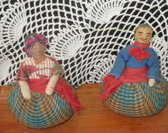 Vintage Pair By Sombol Handmade in Guatemala Pin Cushions Rollie Balls