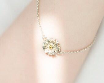 Daisy Charm Bracelet, Flower Bracelet, Delicate Floral Bracelet, Silver, 24k Gold-plated Bracelet, Chain, Brides Bracelet, Gift For Her