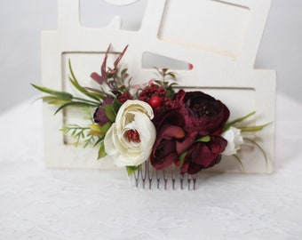 Burgundy wedding flower comb White burgundy flower comb fall wedding Bridal bridesmaid hair comb set of flower combs Burgundy hair comb