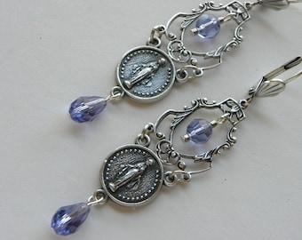Religious Earrings, Silver Assemblage Catholic Rosary Holy Medal Virgin Mary Earrings, Ave Maria, Swarovski Crystal Earrings, ©2018DJameson
