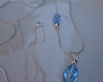 Long silver necklace in fancy design with Crystal-sparkly stone