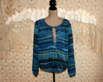 Blue Chiffon Blouse Long Sleeve Hippie Shirt Sheer Boho Top Large XL Keyhole Scoop Neck Studded Hippie Clothes Boho Clothing Womens Clothing