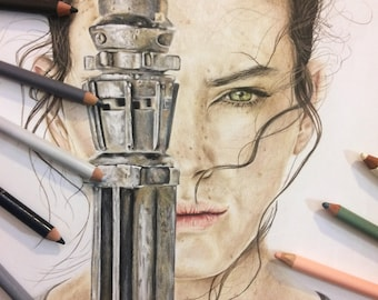 Rey - Original Colored Pencil Drawing (The Force Awakens)